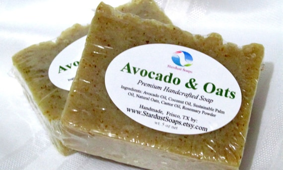 SALE - Avocado and Oats Bar Soap (Unscented, handmade, for all skin types, gentle, lots of lather, face and body soap) 5 oz net