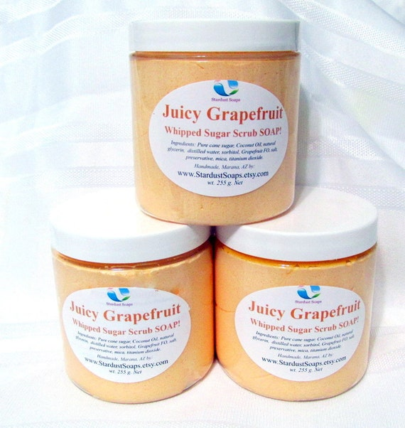 Juicy Grapefruit Whipped Soap Body Polish (Handmade, moisturizing, exfoliating,  aromatic, Free USA shipping