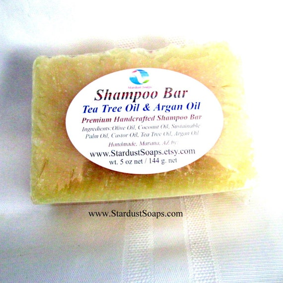 Shampoo Bar Tea tree and Argan Oil (Handmade, dense, long lasting, individually packaged and labeled, wt. 5 oz net) Stardust Soaps