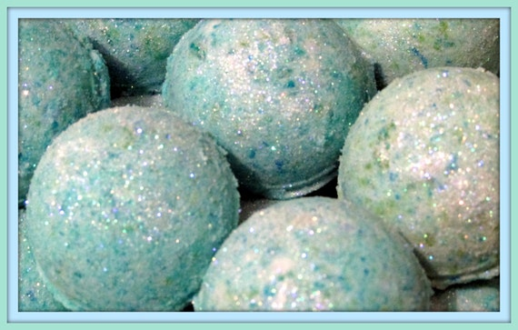 TWO Mermaid Kisses Bath Bomb Fizzies (Handmade, Individually packaged & labeled, moisturizing, exfoliation, aromatic) (NO Cornstarch!)