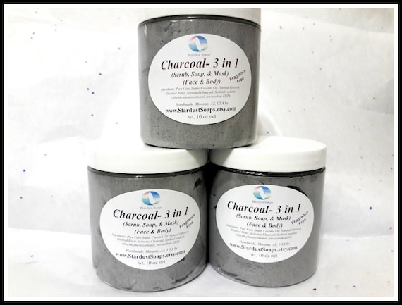 Charcoal 3 in 1 Whipped Soaps Scrub Face Polish and Mask /handmade, natural exfoliation, for all skin types, Free USA shipping item
