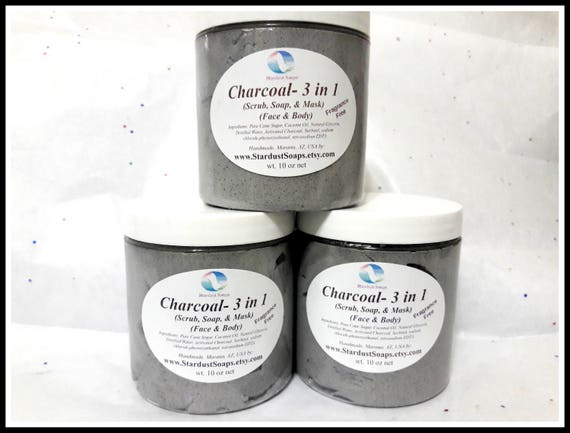 Charcoal 3 in 1 Whipped Sugar Scrub Soap (Soap, Scrub & Mask)