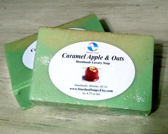 Caramel Apple & Oats Handmade Luxury Soap - aromatic, luxurious, lots of lather, Stardust Soaps wt 4.75 oz net