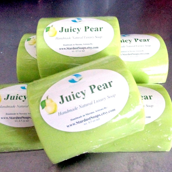 Juicy Pear Bar Soap (Handmade, luxurious, cream, moisturizing, refreshing, Pear) Individually packaged and labeled wt. 4.5 oz net