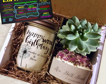 30th Birthday Gift 1989 Handmade Soy Candle Succulent Grown In Our Greenhouse Rose Soap Bomb