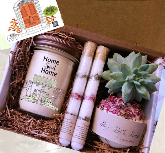 Home Sweet Home Succulent Gift Box Housewarming Gift New Home Gift Scented Soy Candle Gift| Best Friend Gift Realtor Gift Box