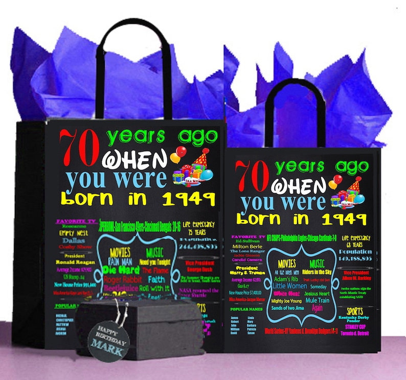 70th Birthday Gift Bag 1949 A Perfect Way To Turn The Past Into Present Ret