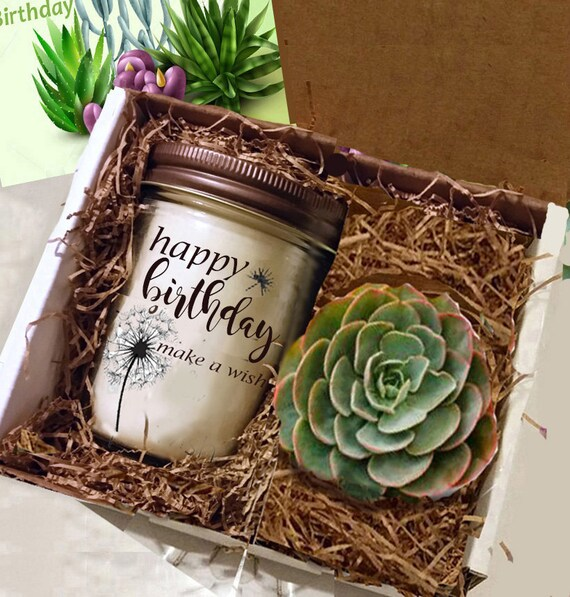 Friend Gift For Best Candle And Succulent Thank You