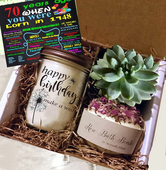 70th Birthday Gift 1949 Handmade Soy Candle Succulent Grown In Our Greenhouse Rose Soap Bomb