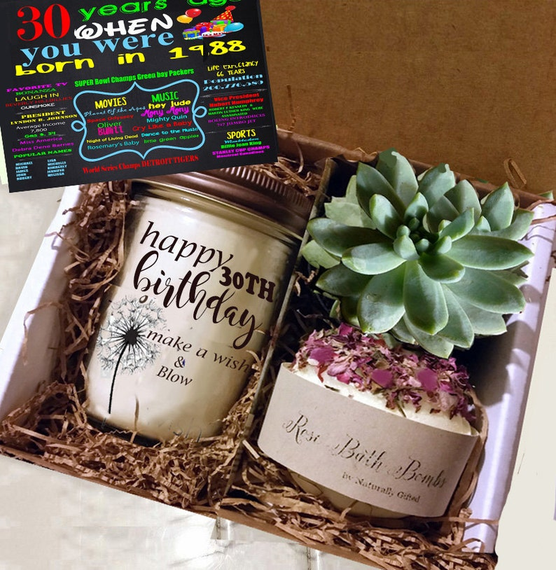 30th Birthday Gift 1989 Handmade Soy Candle Succulent Grown