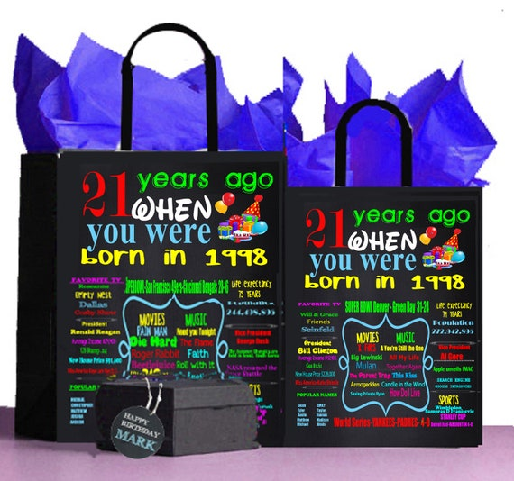 1998 21st Birthday GiftGift Bag A Perfect Way To Turn The Past Into Present Retro NostalgicAnniversaryRetirement65 By 85