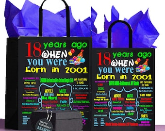 18th Birthday Gift, 18th Gift Bag, 2001 birthday, A perfect way to turn the past into a Present! Retro Nostalgic