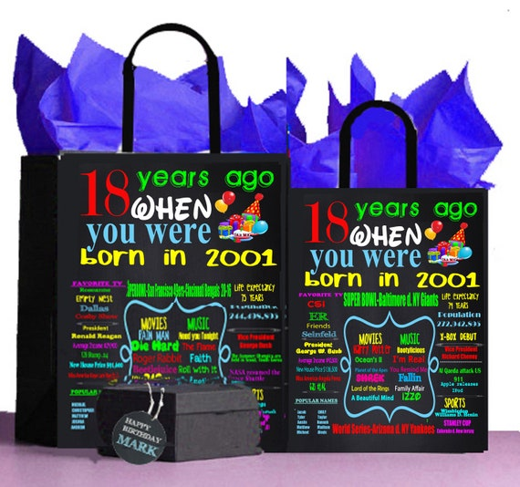 18th Birthday Gift Bag 2001 A Perfect Way To Turn The Past Into Present Retro Nostalgic