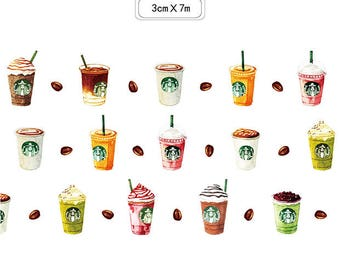Coffee Washi Tape • Coffee Love • Coffee Beans • Frappuccino • Caffè Latte • Caffè Mocha • Cappuccino