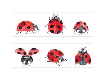 Washi Tape Ladybug Flowers Washi Ta e,  Mushrooms, Nature Washi Tape, 36 Sample Washi Tape or Full Roll - L1679