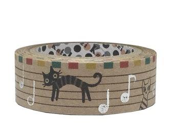 Cat Music Notes Foil Kraft Masking Tape • Shinzi Katoh Design Japanese Washi Tape (ks-ct-10065)