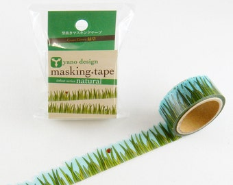 Green Grass Tape Round Top Masking Tape • Yano Design Debut Series Natural Washi Tape YD-MK-004