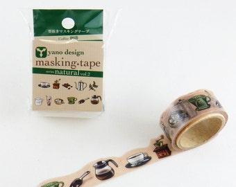 Coffee Tape Round Top Masking Tape • Yano Design Debut Series Natural Washi Tape YD-MK-020