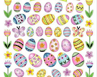 Happy Easter Eggs Stickers • Easter Egg Sticker • Easter Sticker • Easter Favors • Easter Treats • Easter Eggs (SK4163)