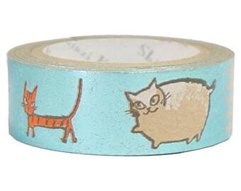Three Cats Kraft Paper Foil Masking Tape • Shinzi Katoh Design Japanese Washi Tape (ks-ct-10026)