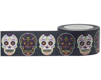 Sugar Skulls Washi Tape • Little B Foil Tape • Sugar Skulls Tape • Sugar Skulls Metallic Foil Tape • Halloween Washi Tape (100780)