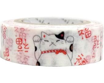 Maneki-neko Fortune Cat Masking Tape • Shinzi Katoh Design Japanese Washi Tape (ks-wt-10026)