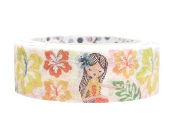 Hibiscus Hula Girl Masking Tape • Shinzi Katoh Design Japanese Washi Tape (ks-mt-10248)