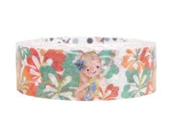 Hula Girl Hibiscus Masking Tape • Shinzi Katoh Design Japanese Washi Tape (ks-mt-10249)