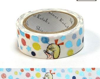 Puwawa Balloon Masking Tape • Shinzi Katoh Design Japanese Washi Tape (ks-dt-10011)