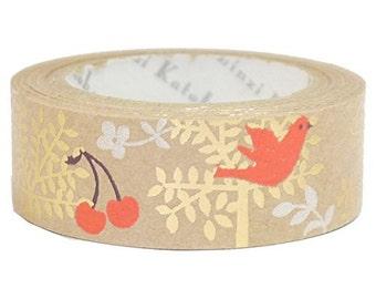 Tree & Birds Kraft Paper Foil Masking Tape • Shinzi Katoh Design Japanese Washi Tape (ks-ct-10036)