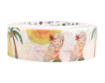 Palm Tree Hula Girl Masking Tape • Shinzi Katoh Design Japanese Washi Tape (ks-mt-10247)