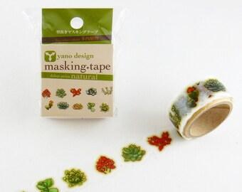 Succulent Tape Round Top Masking Tape • Yano Design Debut Series Natural Washi Tape YD-MK-007