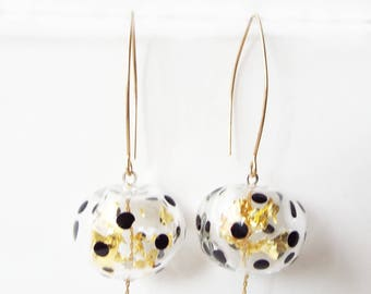 Glass and gold dangle earrings, lampwork bead earrings, artisan earrings, clear bead glass earrings, polka dot  earrings, spots  earrings