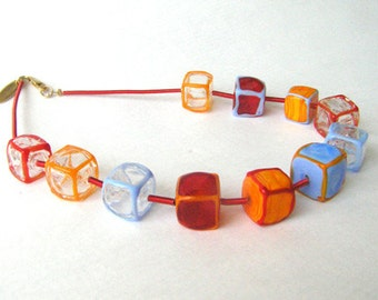 Coloful  Glass Beaded cubes necklace, Geometric statement Lampwork necklace