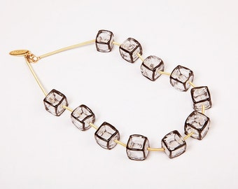 Geometric statement necklace, Clear glass Cubes necklace, Black and white Jewelry