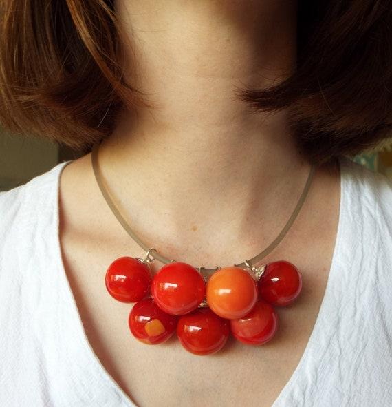 Red Cherry Necklace  Glass Cherry birthday gift anniversary gift lampwork bead jewelry hand blown glass art