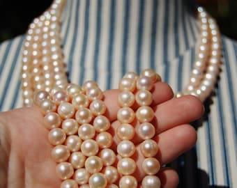 pearl strands jewelry making supplies 7 mm round potato shaped fresh water pearls natural pearls,Pale Champagne Color