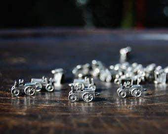 jewelry making supplies made in the U.S Silver Antique wagon charms,Silver charms set of 4 Western charms beading supplies