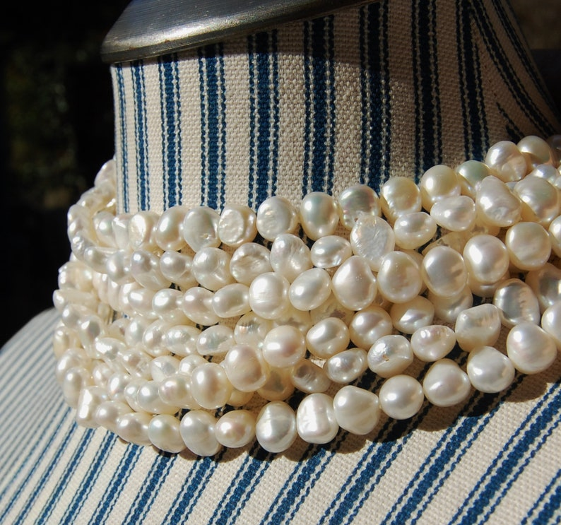 natural pearls 8 mm irregular shaped fresh water pearls jewelry making supplies white pearl strands circle of stones
