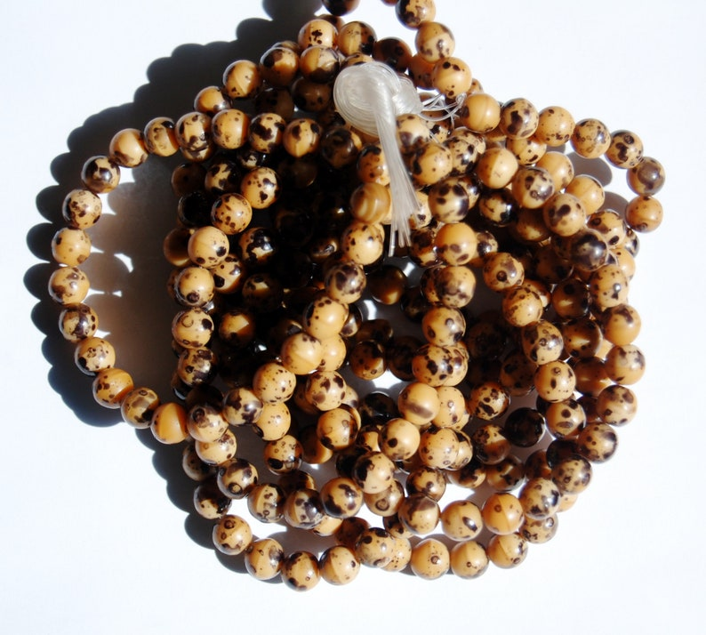 Czech glass bead strands Jewelry making supplies Camel Birds egg beads Circle of Stones 6mm Round Druk Beads