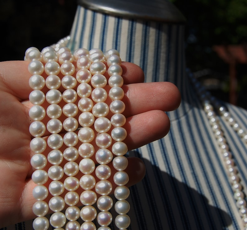 natural pearls,White Pearls jewelry making supplies pearl strands 7 mm round potato shaped fresh water pearls