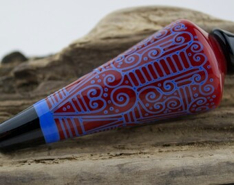 Alive Glass -  Lauscha Red / Periwinkle Pendulum