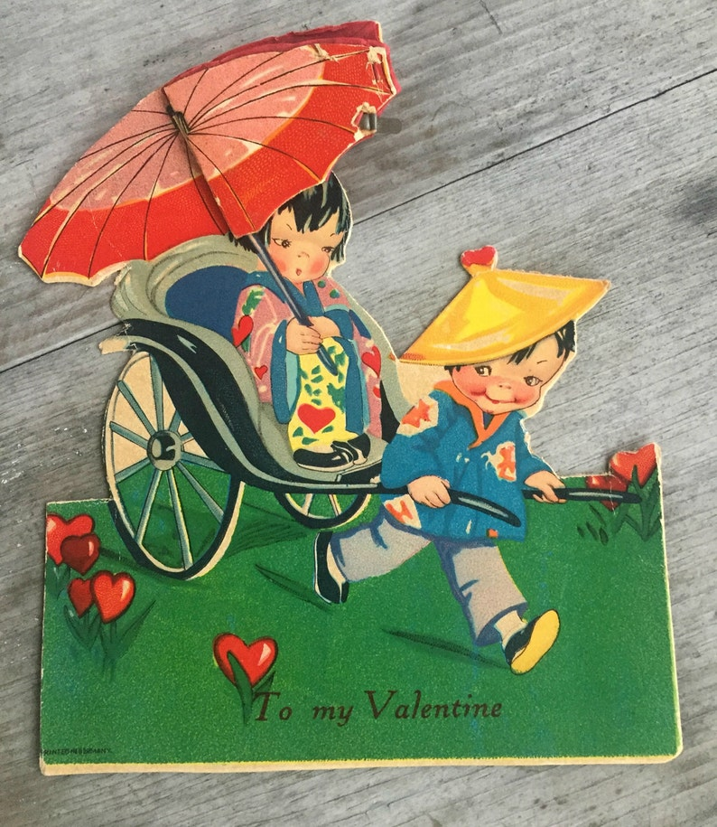 Antique Valentine Honeycomb Fold Out and Stand Up Kick Stand Easel Chinaman Rickshaw ca 4563W 1940s