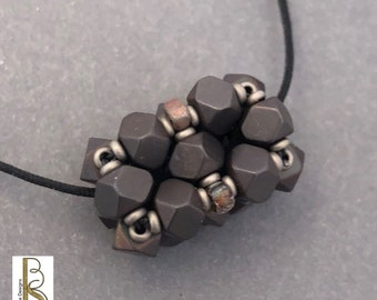 Charcoal gray, minimalist pendant necklace, geometric jewelry, Beth Stone