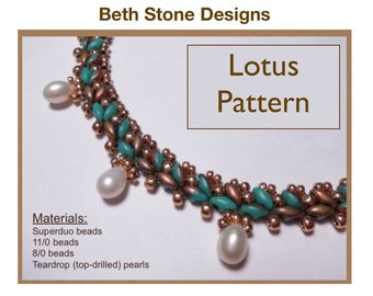 Lotus Necklace - a Beth Stone tutorial, pattern, instructions for Superduo beads