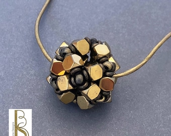 Cornerless Hematite Cube Bead, Beaded Ball Necklace - original design by Beth Stone - pendant seed bead jewelry
