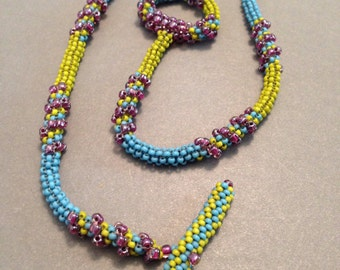 Spiral Around The Rope Seed Bead Woven Necklace - Beth Stone - beadweaving jewelry