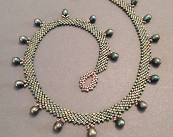 Copper glass seed bead and teal pearl drop hand-woven necklace - Beth Stone - beadweaving jewelry seed bead jewelry