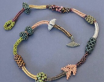 Seed Bead Handwoven Necklace - Beth Stone - beadweaving jewelry
