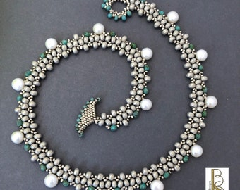 Silver, green and freshwater pearl necklace, hand-stitched, seed beads, one-of-a-kind, - Beth Stone